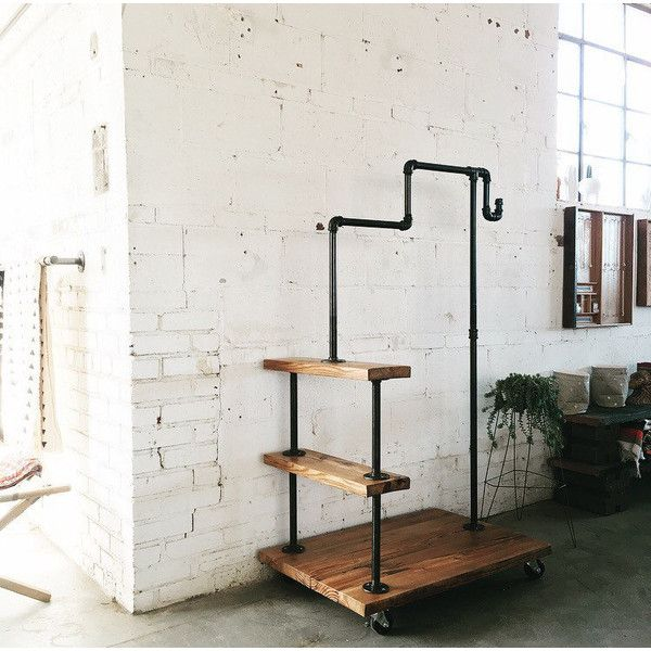 Rustic Industrial Reclaimed Wood Bellman Rack ($448) ❤ liked on Polyvore featuring home, furniture, storage & shelves, home & living, silver, home storage furniture, heavy duty racking, heavy duty furniture, storage furniture and black furniture