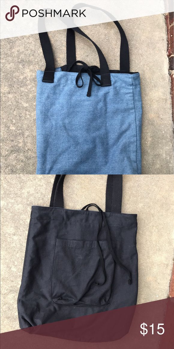 """Urban Outfitters Reversible Black/Denim Tote Bag Big pocket on the black side. 12"""" Wide. Urban Outfitters Bags Totes"""