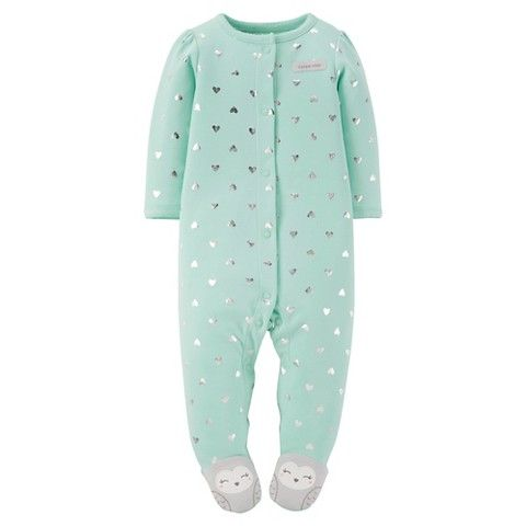 Just One You™ Made By Carter's® Newborn Girls' Hearts Footed Sleeper - Green