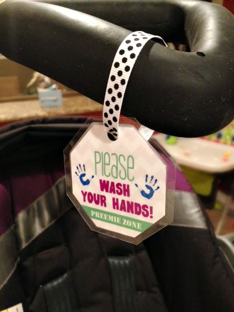 """FREE template to create #Preemie Handwashing Hang Tags! Easy to assemble! Great stocking stuffer for a preemie parent.   """"Please wash your hands, PREEMIE ZONE"""""""