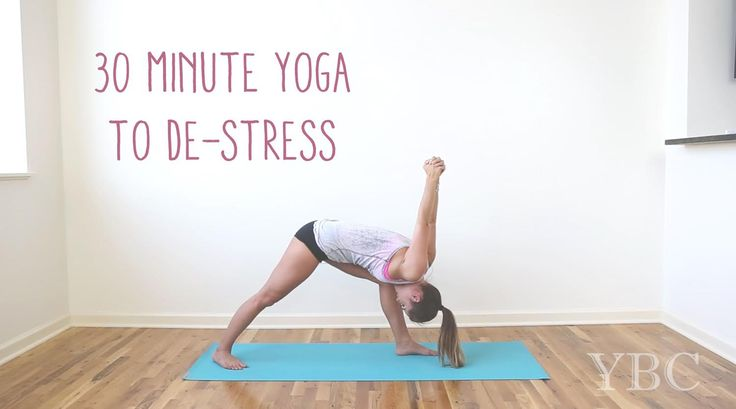 Pin now, practice yoga to de-stress later!  Wearing: lululemon shorts, chaser tank (similar). Using jade travel yoga mat (Review here)