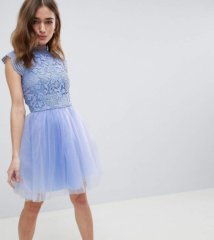 Chi Chi London Petite Cap Sleeve Lace 2 in 1 Midi Dress with Tulle Skirt in sky blue periwinkle | Round neck, Cap sleeves, Lined lace top, Zip-back fastening | affiliate link | petites date night gown | Asos