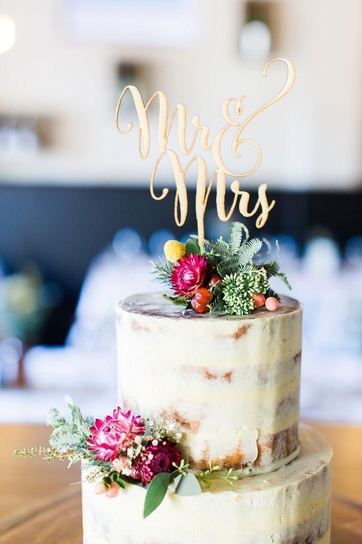 Gold Mr. and Mrs. cake topper: Photography : Kibogo Photography Read More on SMP: http://www.stylemepretty.com/australia-weddings/victoria-au/wangaratta/2016/07/19/australian-malaysian-cultural-garden-wedding/