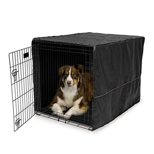 Lightweight black polyester cover for wire crates to  provide the privacy security and comfort that dogs instictively need and desire...