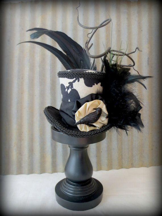 Raven Black Mini Top Hat, Alice in Wonderland, Tea Party Hat, Steampunk Hat, Crow Hat, Mad Hatter Hat, Halloween Hat, Edgar Allen Poe Hat