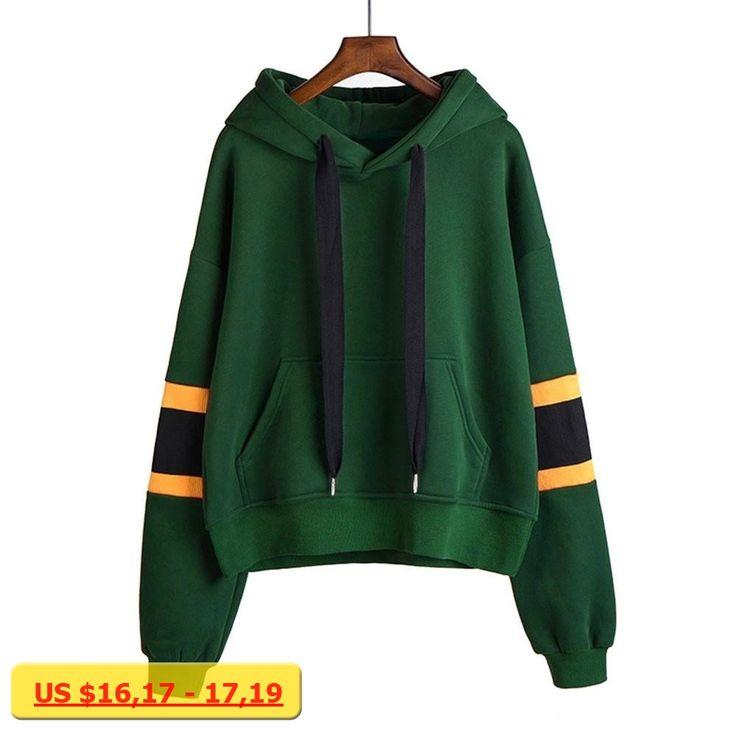 Autumn Stripped Print Design Long Sleeve Women Hoodies Sweatshirts Hooded Female Jumper Womens Green Tracksuits sportswear#1
