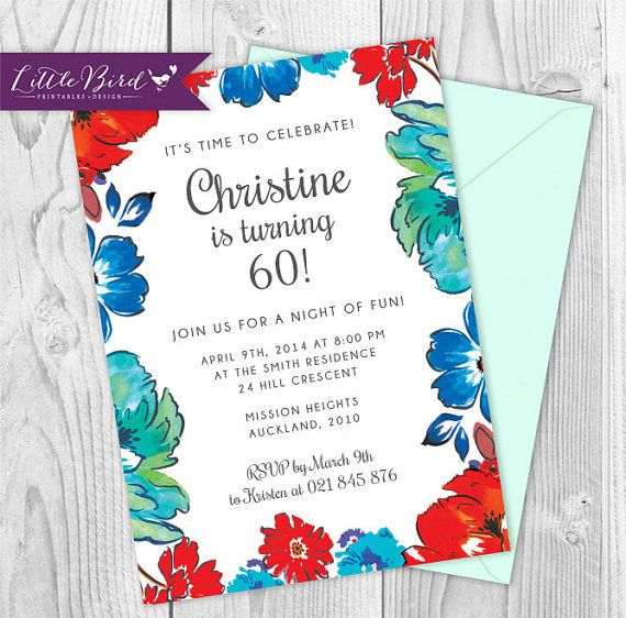 Bright and cheerful customised birthday invitation. Watercolour flowers.