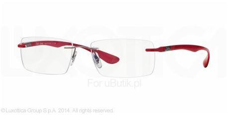 Okulary unisex Ray-Ban RX8724 54 1166. Kolor czerwony oprawek podkreśla temperament właściciela. Brak wyraźnych ramek powoduje, iż okulary są praktycznie niewidoczne.