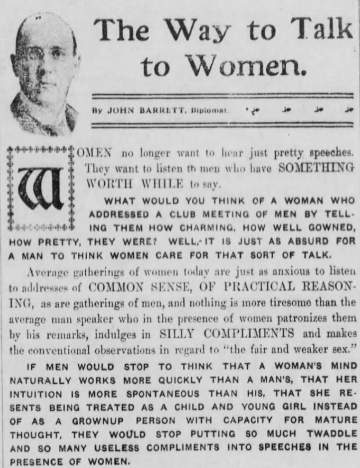 July 22, 1909 - Corsicana Daily Sun, page 2, Corsicana, Texas John Barrett #feminist