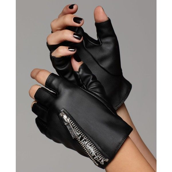 Karl Lagerfeld Gloves, Fingerless Motorcycle Zipper Faux Leather... (10 AUD) ❤ liked on Polyvore
