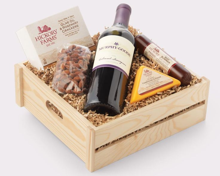 wine basket gift from hickory farms
