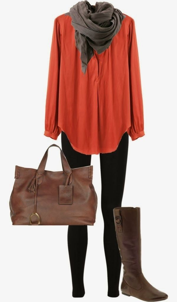 Dark grey scarf, red long shirt, black pants, long boots and hand bag combination for fall