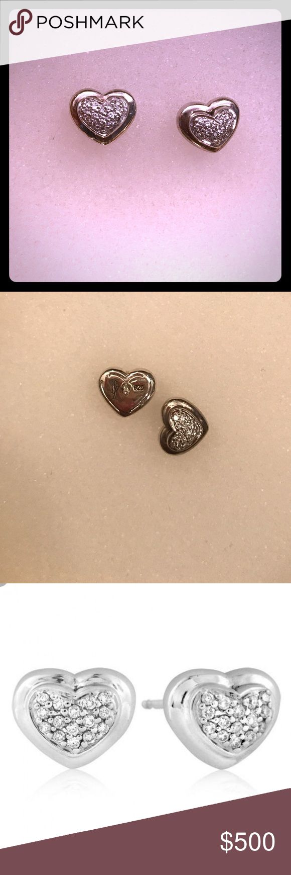 Scott Kay Diamond Heart Earrings Scott Kay sterling silver heart stud earrings mounted with round brilliant-cut natural diamonds. Earrings have a width of 1.0 cm and a height of 0.9 cm | 0.24 carat weight | great condition | worn twice | I wear more gold or I would keep these | great size Scott Kay  Jewelry Earrings
