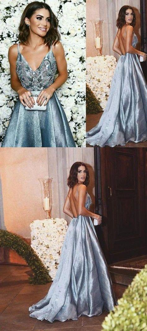 Dusty Blue Prom Dress,Unique Prom Dress,Backless Prom Dress,Spaghetti Straps Prom Dress,MA176