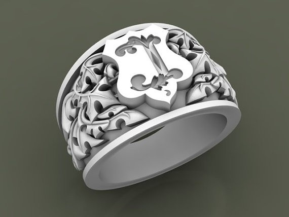 Hand Crafted Customized Heraldic or Coat of Arms rings by Classic Hand Engraving and Jewelry | CustomMade.com