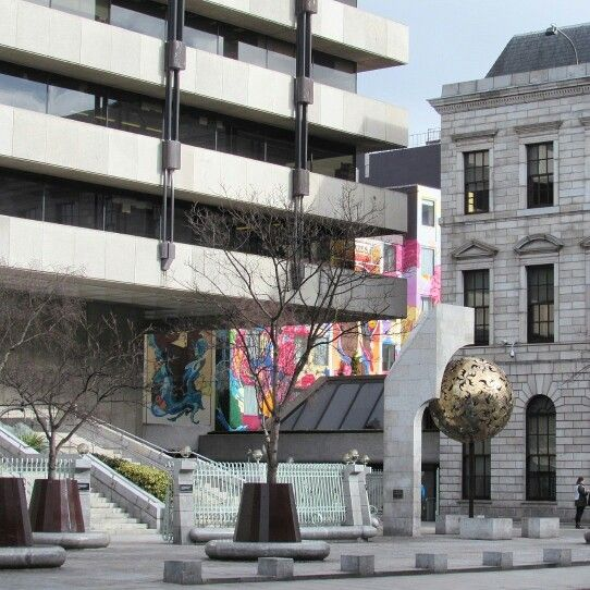 Central Bank of Ireland and the beautifully colourful Blooms Hotel, Dublin 2