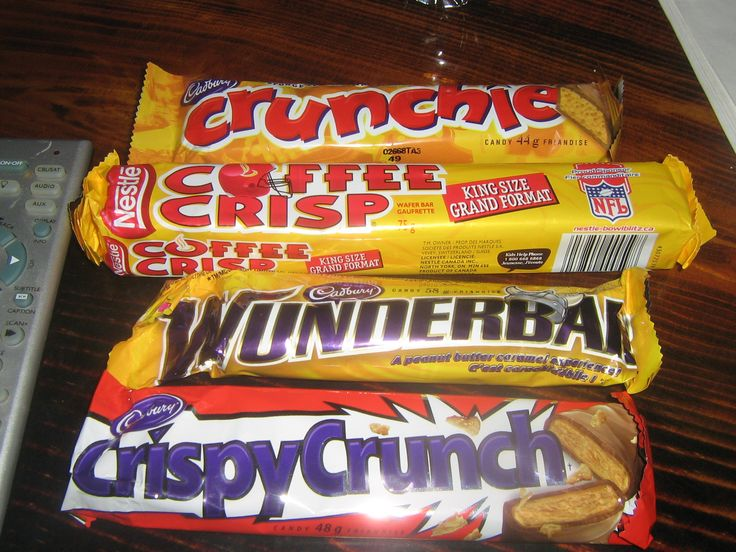 Canadian chocolate bars (we don't say candy bars!)..you can only get them in Canada