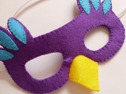 SALE Hallowen Bird Mask, felt mask, purple, turquoise blue, yellow. £5.00, via Etsy.