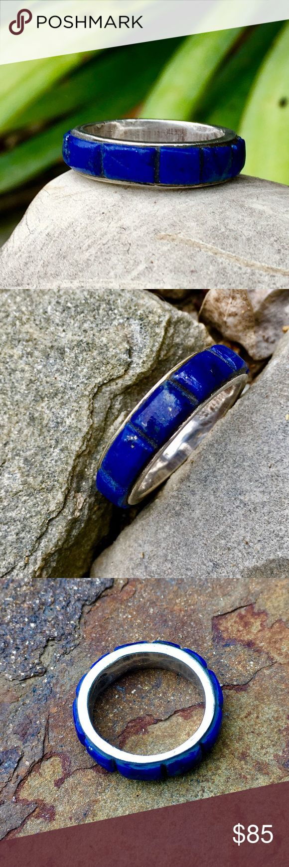 Vintage Sterling Channel Set Lapis Lazuli Ring *Vintage, Sterling Lapis Band, Lapis Lazuli Stones are 4mm wide, channel set, and vary in length from 4-9mm. Stones have visible Gold colored Matrix, other than expected wear for Vintage piece, all stones are intact. Tool Marks are evident, and Ring tests positive for Sterling, tho I have no verifiable history or Authentication for this fabulous piece, It's clearly Hand Cast 6.7g Jewelry Rings