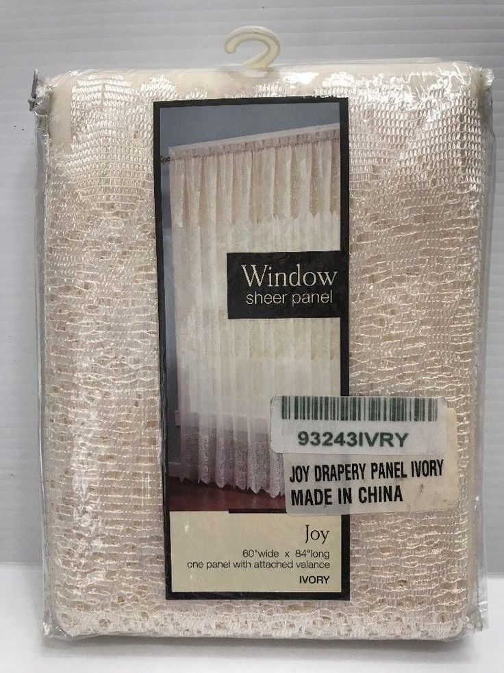 Window Sheer Panel Attached Valance Joy Ivory 60X84 #93243 New #WindowSheer