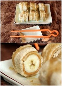 Sushi for kids! Flatten a slice of wheat bread, cover it in peanut butter and roll it around a banana. Slice like sushi and drizzle with honey!  -I might just do this for myself!!