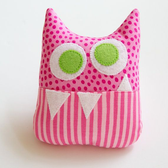 Tooth Fairy Pillow - Personalized Monster - Pink Dots and Stripes with Green Eyes and Appliqued Initial