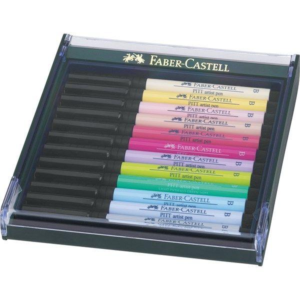 Pehmeä sivellin kynä Pitt Artist Faber-Castell 12-pakkaus pastellivärejä