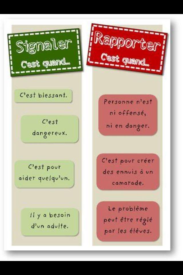 Pour expliquer la #différence aux #enfants entre signaler et rapporter. Pour leur faire comprendre qu'il ne faut pas rapporter mais qu'il faut signaler si nécessaire !