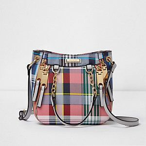 Checked Print Zipped Scooped Crossbody Bag from River Island R600,00