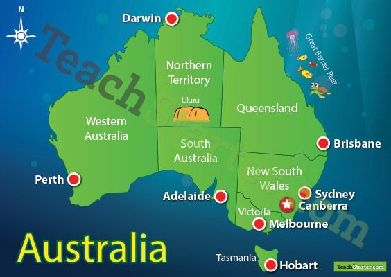 A map of Australia showing each capital city and some of the most famous landmarks