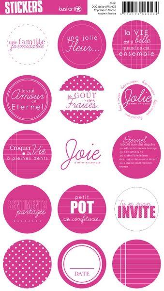 round stickers - fuchsia - Stickers ronds Kesi'Art pour toutes vos réalisations…