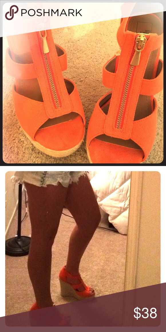 Orange Wedges Orange wedge sandals. Cute for summer! And Comfy! Shoes Wedges