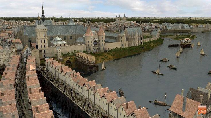 Les constructions s'alignaient sur les ponts au Moyen Age. Ici, le Pont au Change (qui existe toujours) et le Pont aux Meuniers devant la tour de l'Horloge du Palais de la cité. Au fond, il est possible de distinguer l'abbaye Saint-Germain-des-Prés.