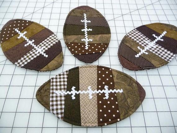 Football Mug Rugs Coasters Set of Four by SewSweetSparrow, $14.00 - these would make good mug rugs!