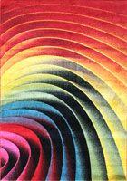 Splendido Modern Wavy Spiral Rug 4764A L. Red Black