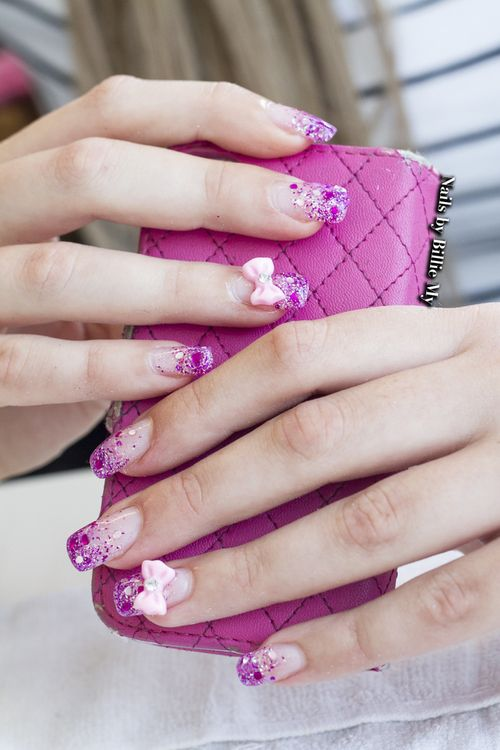French pink falling glitter with bows!