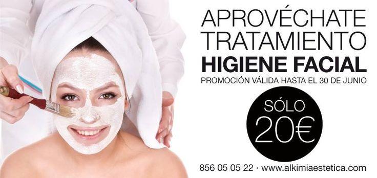 APROVÉCHATE!!! Tratamiento de higiene facial por tan solo 20€ (Sólo hasta el 30 de junio) Ideal para el mantenimiento óptimo de tu piel.  www.alkimiaestetica.com 856 05 05 22