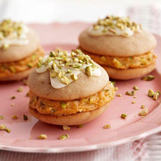 Pumpkin-Spiced Whoopie Pies! More pumpkin desserts: http://www.bhg.com/thanksgiving/recipes/luscious-pumpkin-desserts/