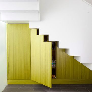 pop of color with fun veneer, magnetic/push opening on doors (no hardware/internally hinged) built in under stairs