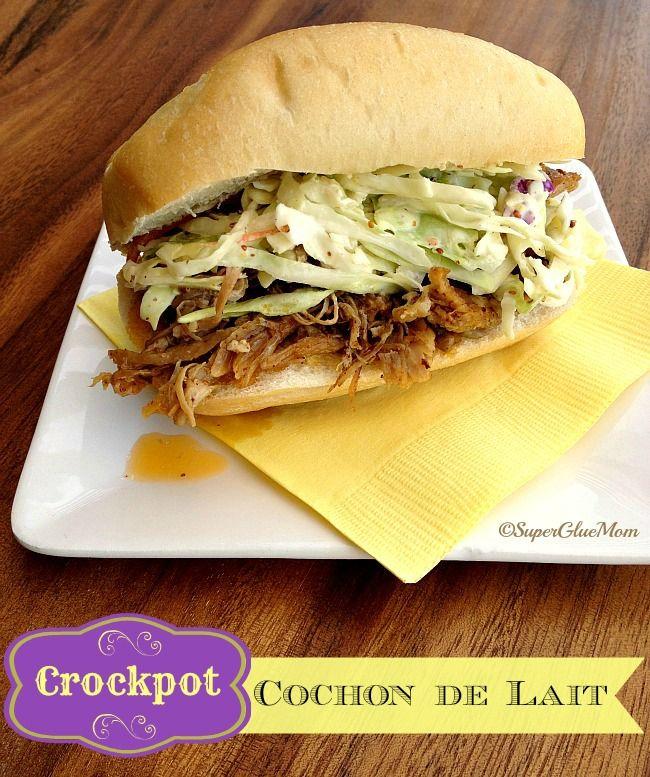 Cochon de lait po boy recipe in the crockpot, similar to poboy from jazz fest
