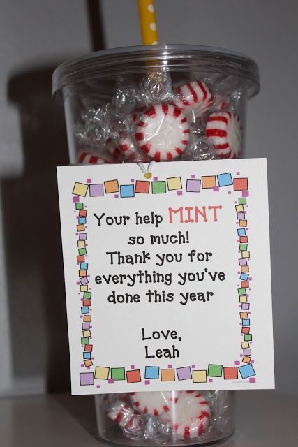 cute gift idea for parent volunteer--- and I know where to get some fabulous mints ;)