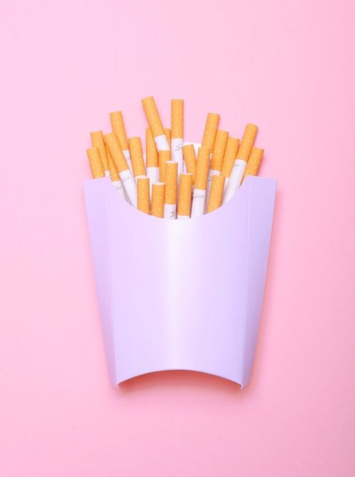 cigarettes can be addicting like fries. yes, fries are yummy.