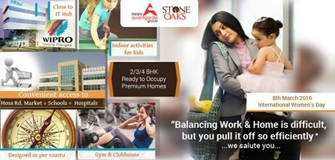 With meticulous planning, by virtue of patience & her unconditional love for the family, is what drives a Woman to manage her Home & Career successfully. We salute Womanhood, and wish you a Happy International Women's Day today #Womensday #careerwomen #workfamilybalance #wesalute #Neevavantgarde #StoneOaks  Know more about Stone Oaks project here http://neevavantgarde.com/luxury-apartments-hosur-road/stoneoaks/