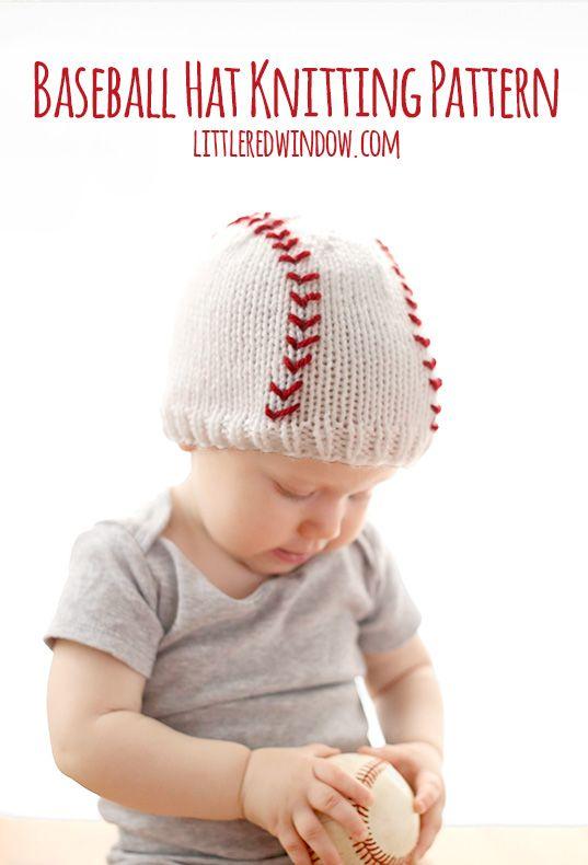 Baby Baseball Hat Knitting Pattern for your cute little slugger!  | littleredwindow.com