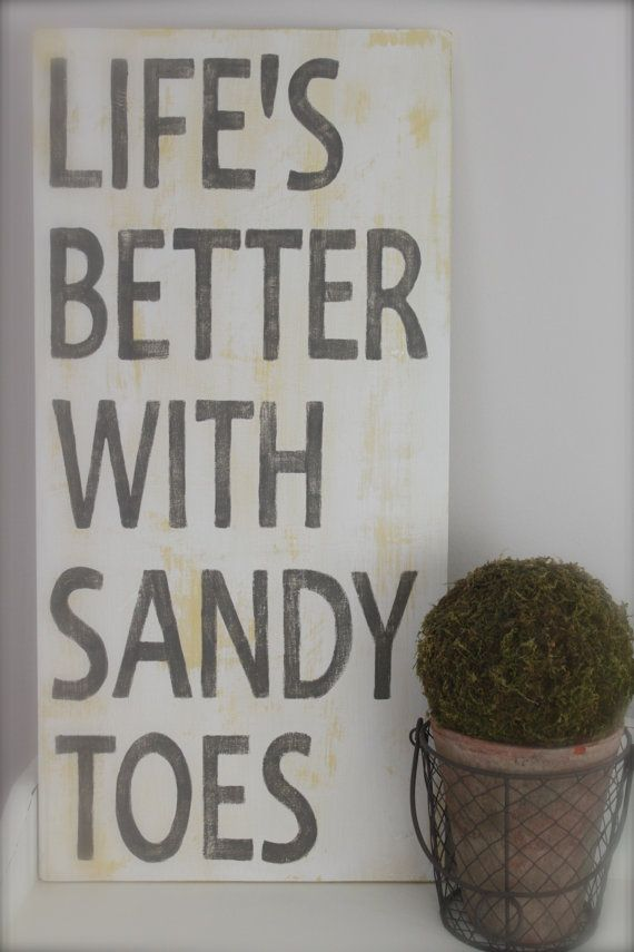 Beach Quote Life's Better with Sandy Toes Wood Wall by InMind4U, $48.00