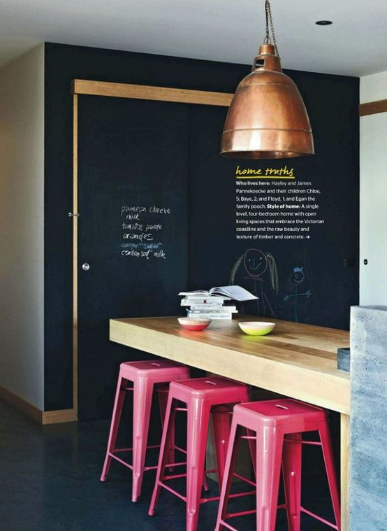 pink bar stools + chalk board wall