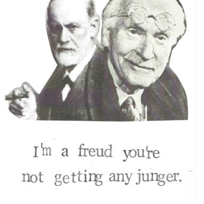 Freud and jung funny psychology pun birthday card