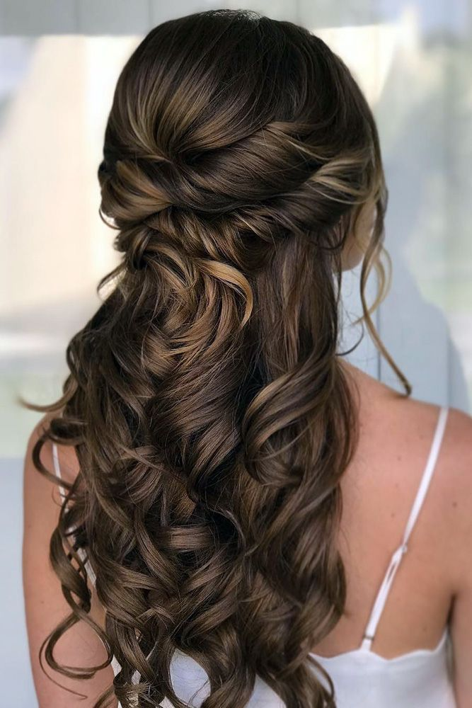 Wedding Hair Half Up Half Down Twisted And Curls On Long Hair Renee Marie Via Instagram Long Hair Styles Wedding Hair Half Prom Hairstyles For Long Hair
