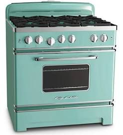 """36"""" 6 Burner Retro Stove by Big Chill, Color Turquoise"""
