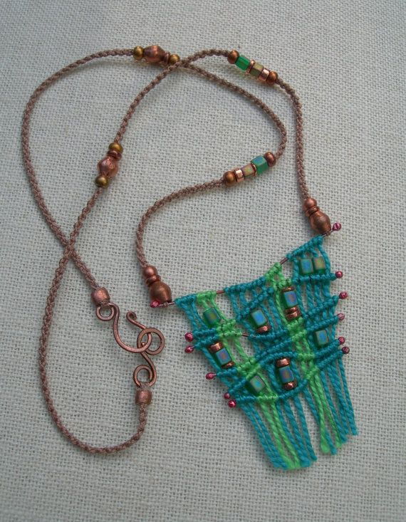Bohemian Teal and Copper Macrame Strand Necklace, Hand-Knotted Micro Macrame Bib Necklace, Statement Necklace